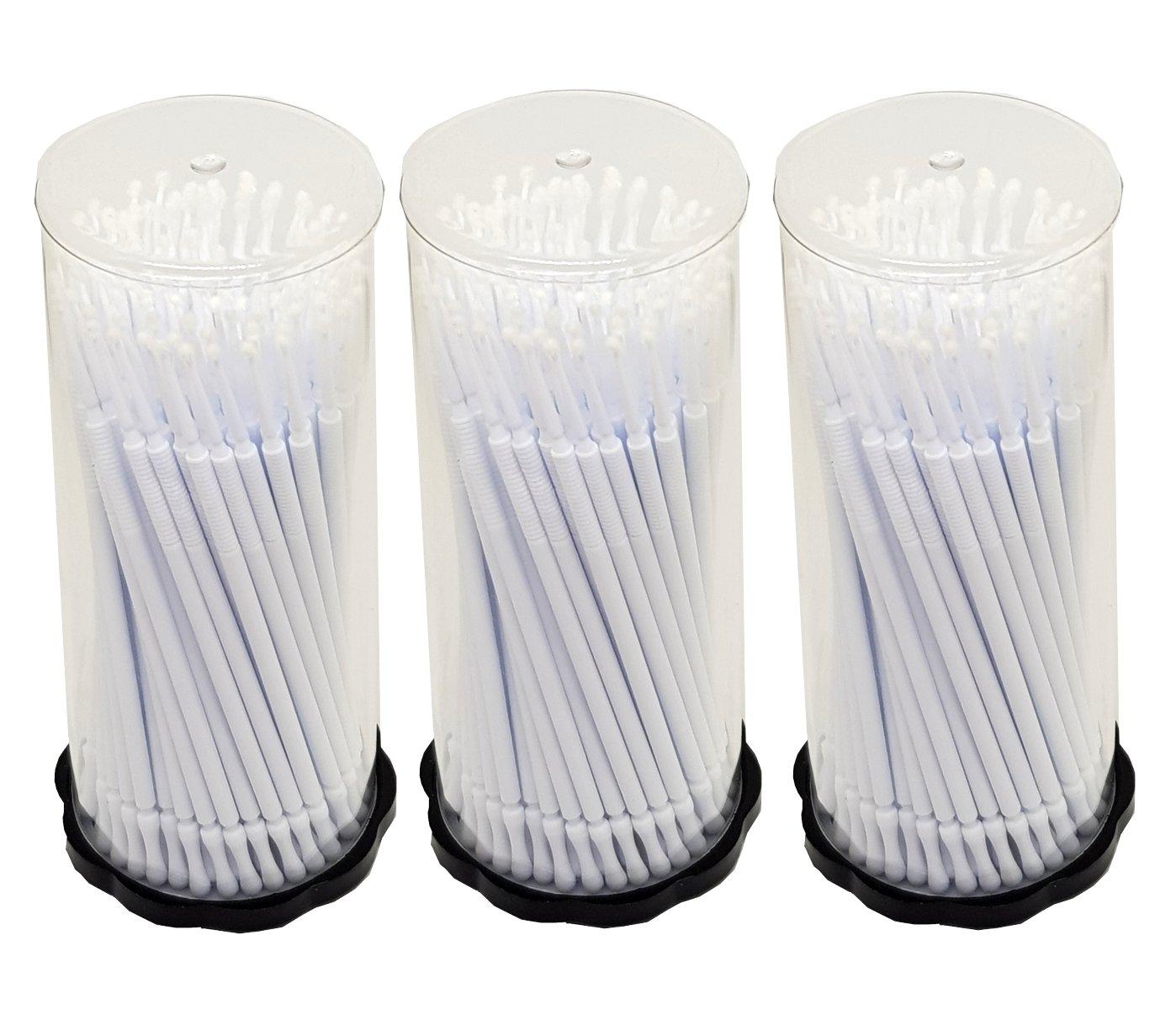 300pièces Lot de 3x 100Tube Applicateur en microfibre Bâtonnets de nettoyage de Blanc 1, 5mm pour extensions de cils Dermastil