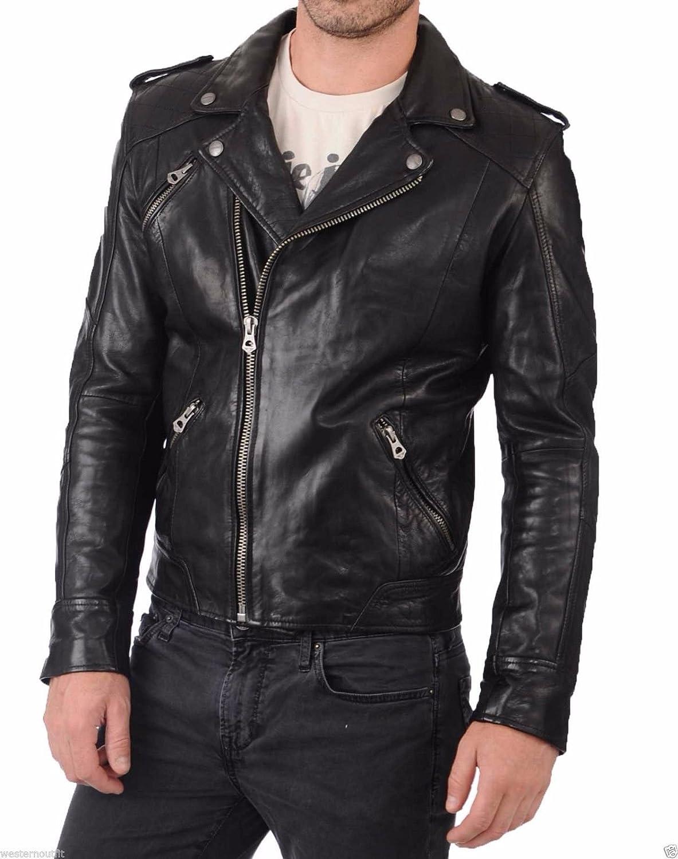 Travel Hide Mens Leather Jacket Motorcycle Genuine Lambskin Biker Jacket TM013