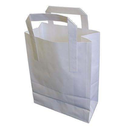 Paquete de 50 Bolsas Blancas Medianas SOS Kraft, Bolsas de Papel con Asas 8x13x10