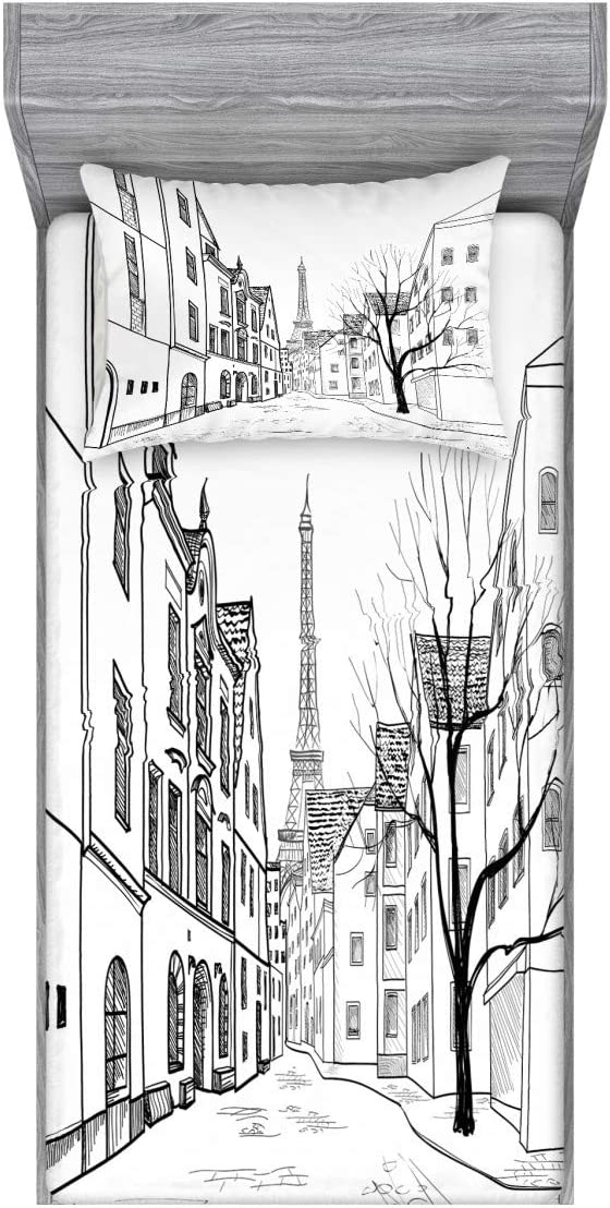 Ambesonne Cityscape Fitted Sheet & Pillow Sham Set, Paris Street with Houses Buildings and Tree on Alleyway Eiffel Tower Background, Decorative Printed 2 Piece Bedding Decor Set, Twin, Grey