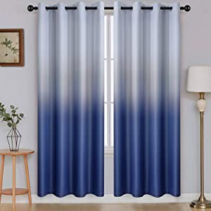 Ombre Room Darkening Curtains for Boys Bedroom, Gradient Grey White to Blue Polyester Light Blocking Thermal Insulated Grommet Window Curtains /Drapes for Living Room ,2 Panels, 52x72 inches Length