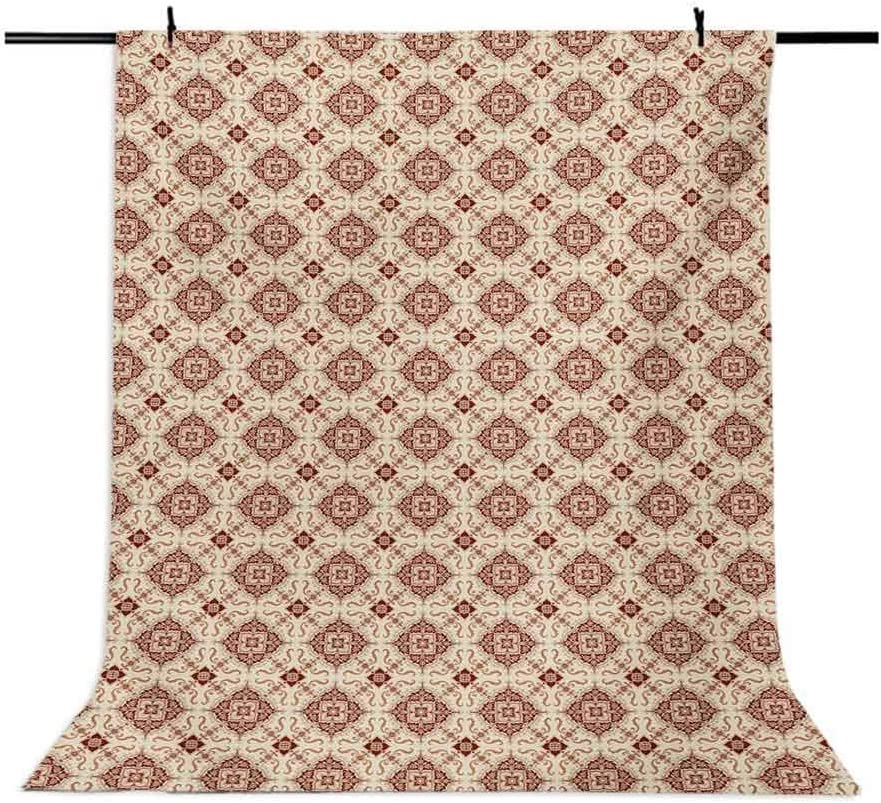 Vintage 6x8 FT Photo Backdrops,Victorian Inspirations Pattern Ancient Flowers Curves and Spirals Background for Child Baby Shower Photo Vinyl Studio Prop Photobooth Photoshoot Beige Brown Pale Orange