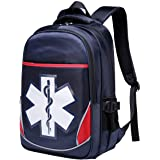 Camoredy First Aid Bag Empty Red Emergency Medical Backpack First Responder Trauma Bag Waterproof Multi-Pocket for Traveling,