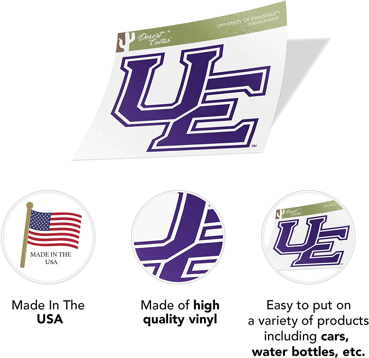 University of Evansville Purple Aces NCAA Vinyl Decal Laptop Water Bottle Car Scrapbook Sticker - 00005