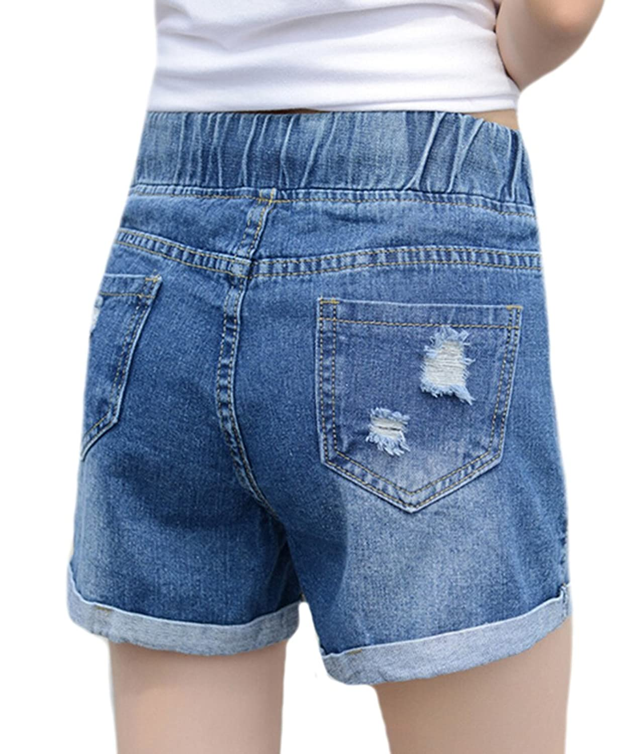 MLG Womens Casual Ripped Crimping Pockets Holter Jeans Shorts