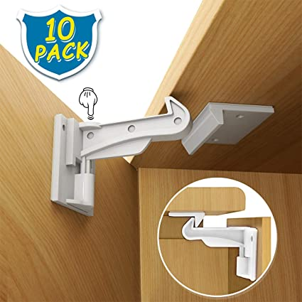 Child Safety Cabinet Locks WeGuard 10 Pack No Drilling Adhesive Baby Proof Drawer Locks Hidden Baby Safety Cabinet Latches Locks For Kitchen Cabinet