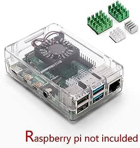 Aukru Caja Transparente para Raspberry pi 4 Modelo B con 4X disipador de Calor para Raspberry pi 4 Modelo B: Amazon.es: Electrónica
