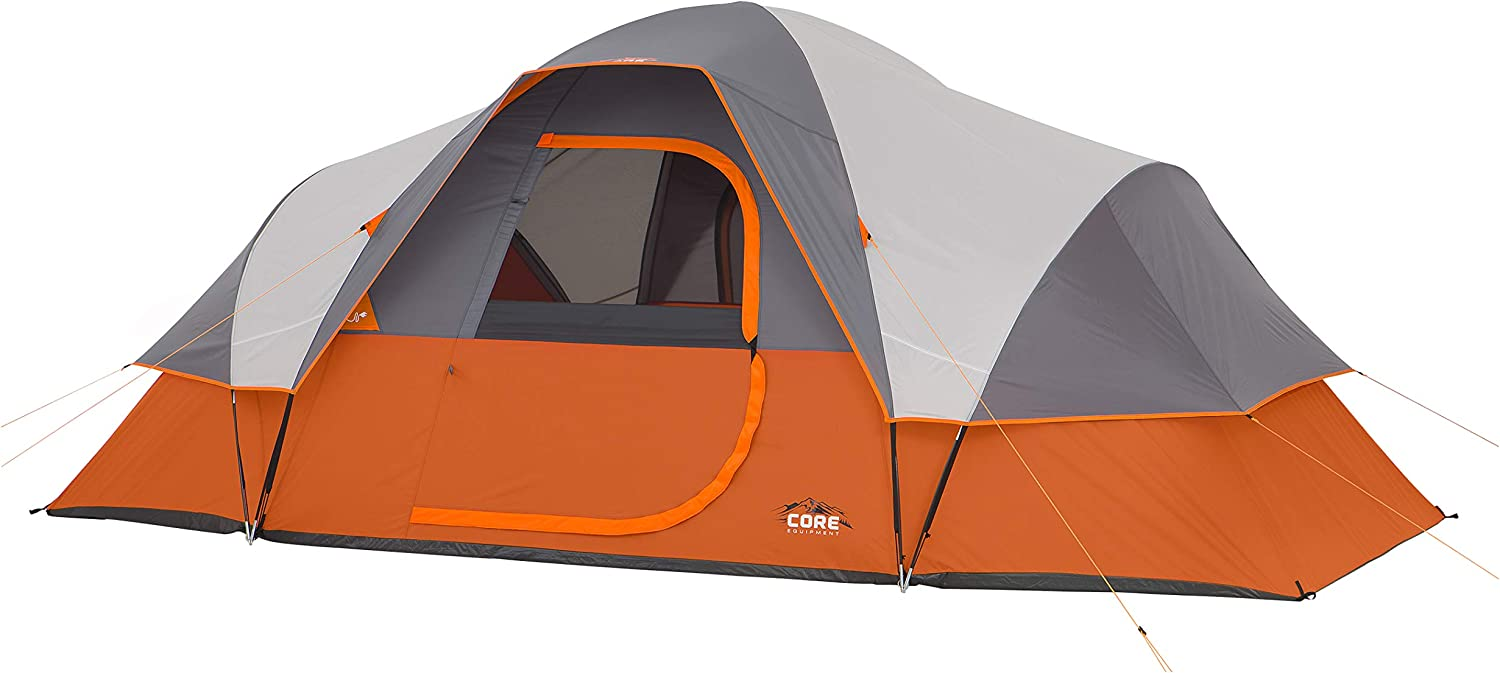 Image of a tent with D-shaped door, in orange and gray details.