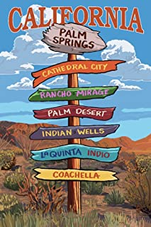 product image for Palm Springs, California - Destinations Sign (9x12 Art Print, Wall Decor Travel Poster)