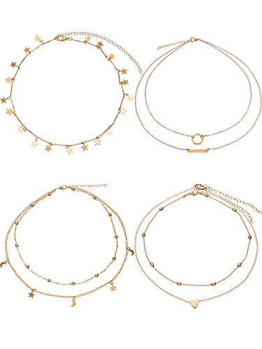 69af68f29a8fe7 BBTO 4 Pieces Layered Pendant Choker Necklace Gold Layering Chain Choker  for Women Girls (Style
