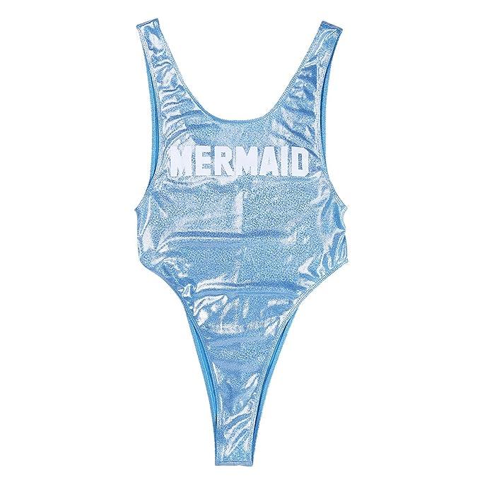 IEFIEL Traje de Baño Una Pieza Azul para Mujer Monokini ...