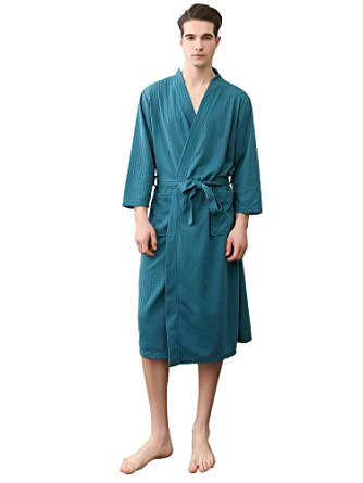 H Hiamigos Mens Dressing Gowns Pajamas Sleepwear Lighweight Cotton