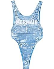 iEFiEL Women Shiny One Piece High Cut Bodysuit Swim Leotard Dance Blouse Top Beach Swimwear