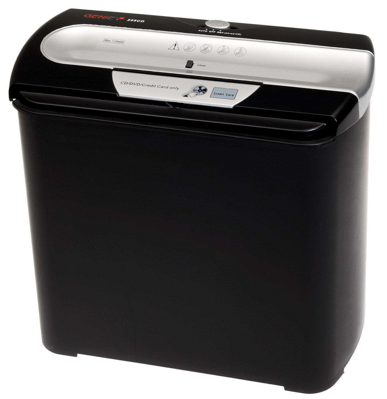 Genie 255 CD - Destructora de papel plateado y CD (7 hojas, 12 litros), negro y plateado papel 37ed66