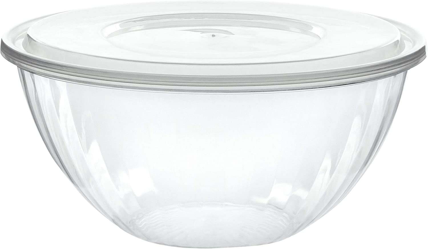 Plasticpro Disposable 96 Ounce Round Crystal Clear Plastic Serving Bowls With Lids Party Snack or Salad Bowl, Chip Bowls, Snack Bowls, Candy Dish, Salad Container Pack of 4