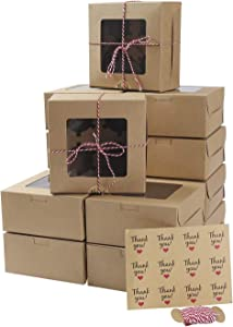 ST.LORIAN 30 Packs Bakery Cupcake Boxes with Window and Inserts 4 Holders,Twine and Stickers,6x6x3 Inch Food Grade Kraft Cookie Boxes for Muffins,Small Cakes,Cupcakes(30 Pack, Kraft)