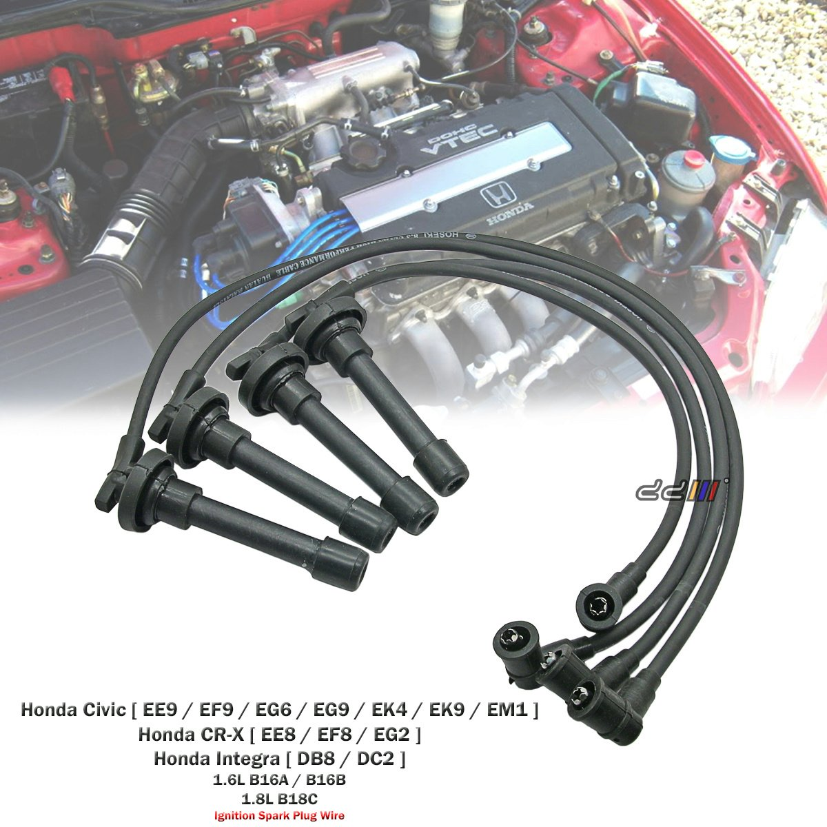 Amazon.com: 8.3mm Ignition Lead Spark Plug Wire Cable For Honda Civic EG  EK4 EK9 B16A B16B: Automotive