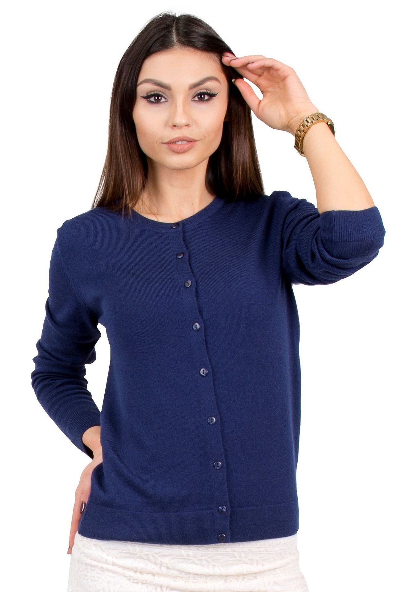 KNITTONS Women's 100% Merino Wool Button up Crewneck Cardigan Sweater Long Sleeve (X-Large, Navy Blue)