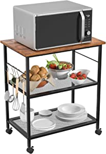 Homfio Kitchen Microwave Cart, Industrial Utility Storage Rack, 3-Tier Baker's Rack, End/Side Table Storage Office Shelf Lamp Table Rolling Cart with Wheel and 10 Hooks Living Room Bedroom Furniture