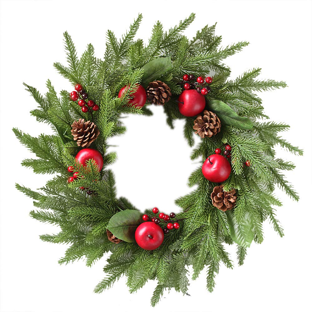 Promisen Christmas Wreath,Merry Christmas Garland Decorations with Red Berries Bells for Christmas Party Decor Front Door Wall,55-60cm Diameter (A) by Promisen (Image #1)