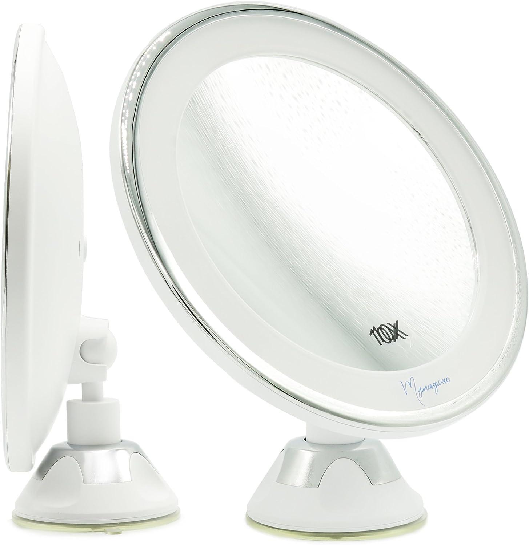 Kosmetikspiegel 10-Fach Wandmontage LED Touchscreen Batterie Schminkspiegel Rasierspiegel Vergr/ö/ßerungsspiegel Make-up Spiegel 360/°Schwenkbar Faltbar Black