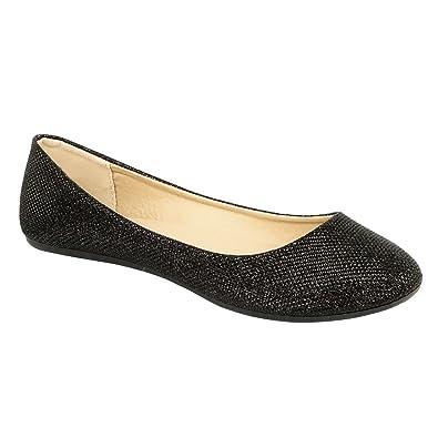 304fe29b9f4e Refresh DEMI-07 Women s Glitter Shinny Ballerina Ballet Slip On Flats