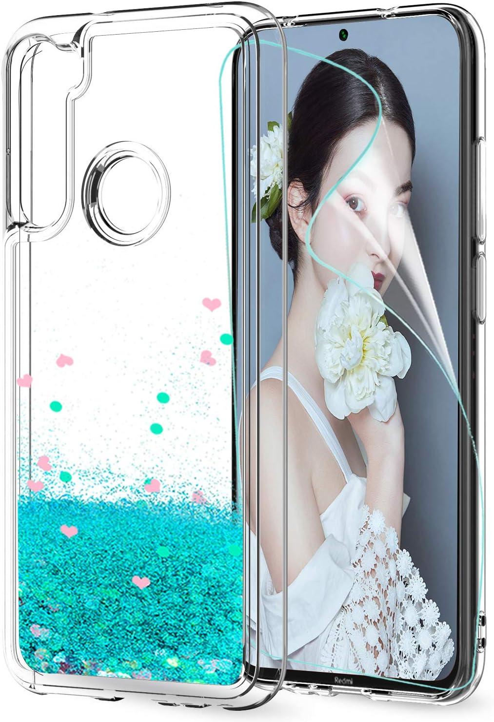 LeYi Funda Xiaomi Redmi Note 8T Silicona Purpurina Carcasa con HD Protector de Pantalla, Transparente Cristal Bumper Telefono Gel TPU Fundas Case Cover para Movil Redmi Note 8T ZX Verde