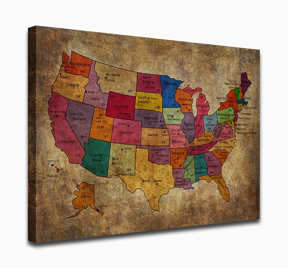 yearainn Canvas Prints United States Map Painting Canvas Art - 5 Pieces 60
