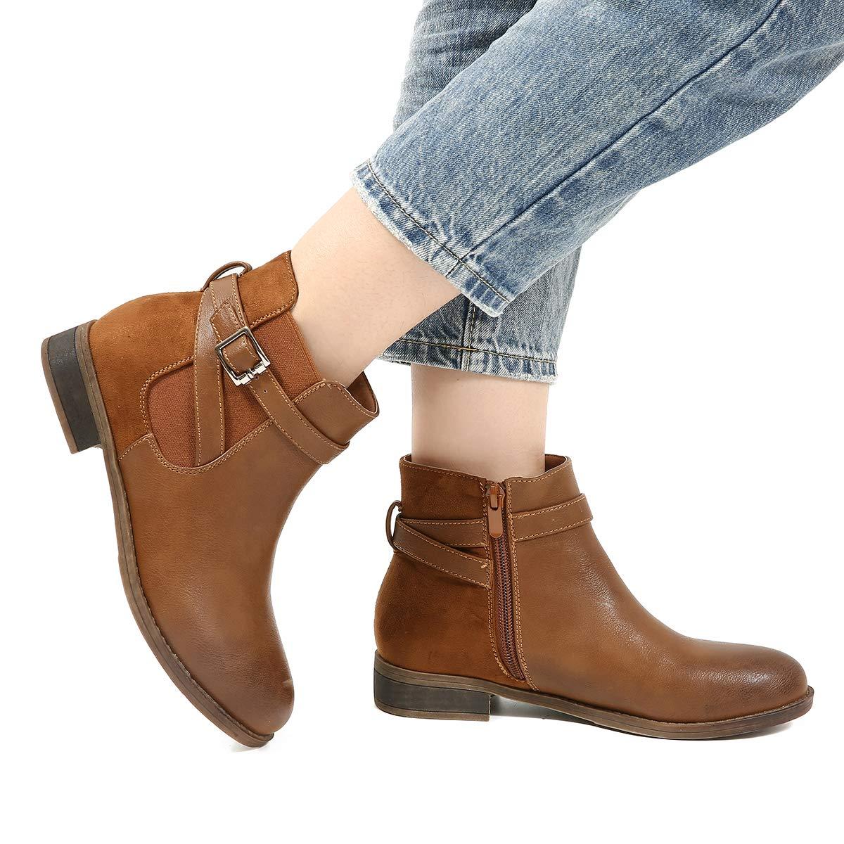 b4ad1bd68e8c95 Camfosy Bottines Chelsea Hiver Femmes Chaussures Chaussures de Ville Plates  avec Fourrure à Talons Bas Bottes ...