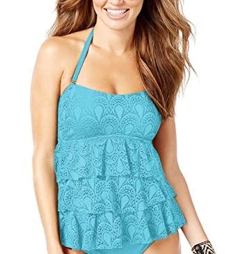 25ac6b22fc1ba Amazon.com: Island Escape Women's Tiered Peacock-Pattern Crochet Halter Tankini  Top: Clothing