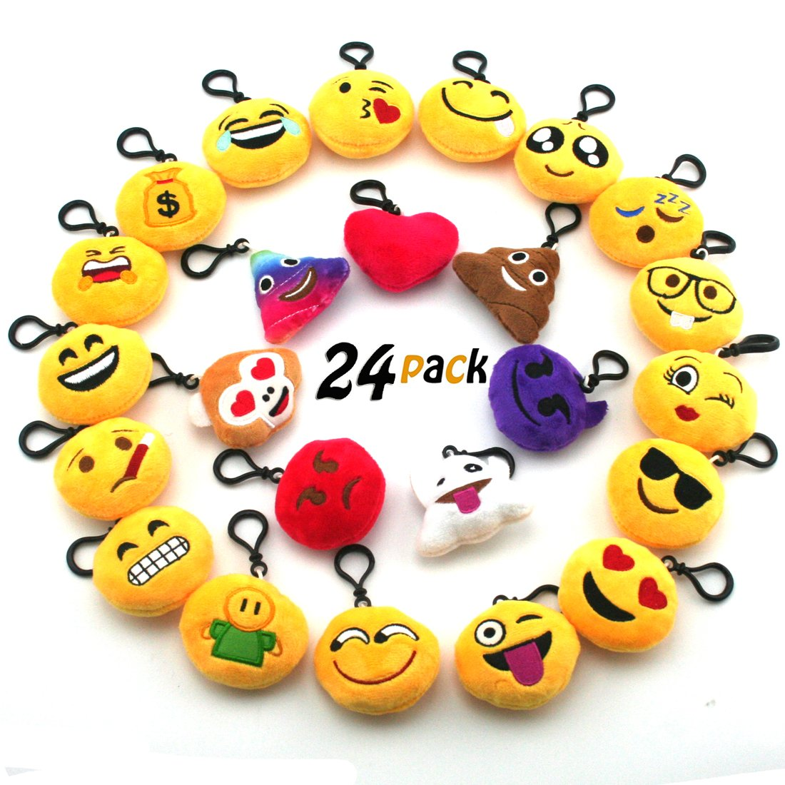 JACHAM Novelty Toys Emoji Keychain, Emotion Plush Pillow,Kids Party Supplies Favors,Keychain Decorations 2.4'' Set of 24 Pack