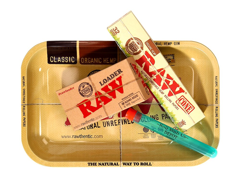 RAW Organic Pre-Rolled Cone 32 Pack King Size Combo Includes: RAW Rolling Papers Rolling Tray, RAW Organic 32 Pack of Cones, RAW Loader, Roll With Is Doobtube (small)