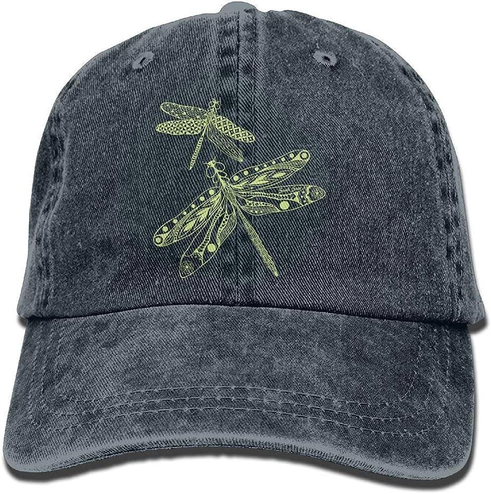 Arsmt Dragonfly Denim Hat Adjustable Women Vintage Baseball Cap