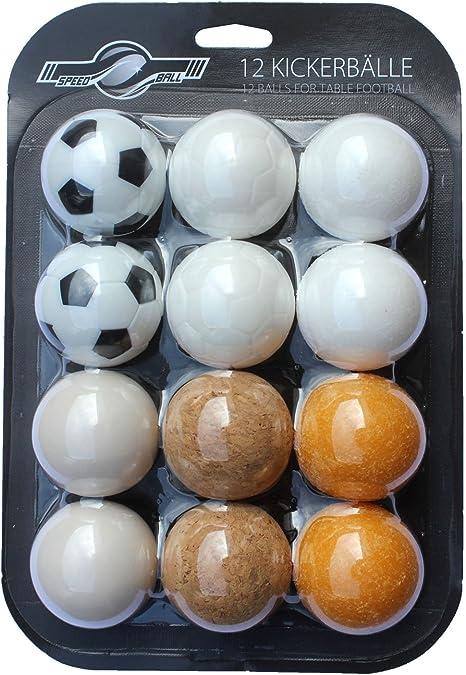 GOODS + GADGETS - Juego de 12 pelotas de futbolín para futbolín de mesa, futbolín de futbolín, selección de diferentes variedades (corcho, PE, PU, ABS) 35 mm: Amazon ...