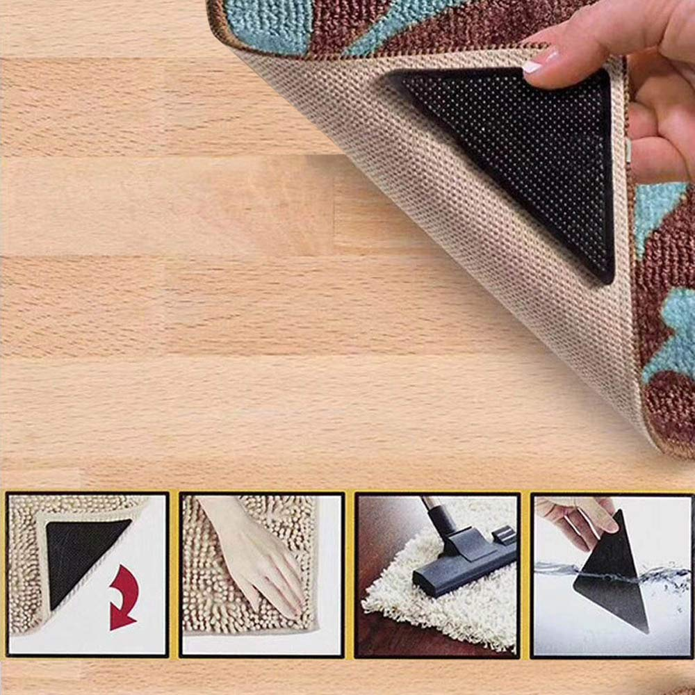 Carpets Sopplea 12 pcs Non Slip Rug Grippers for Hardwood Floors,Carpet Gripper for Tile Floors Wall,Rugs Double Sided Anti Curling,Non-Slip,Washable and Reusable Pads(Black) Floor Mats