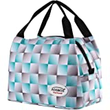 Aosbos Reusable Insulated Lunch Box Tote Bag 15L for 2 Person(Green Grid)