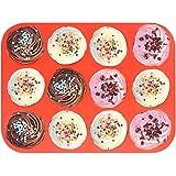 12 Cup Silicone Muffin Pan & Cupcake Baking Pan ,Nonstick,Dishwasher - Microwave Safe,Red Bakeware