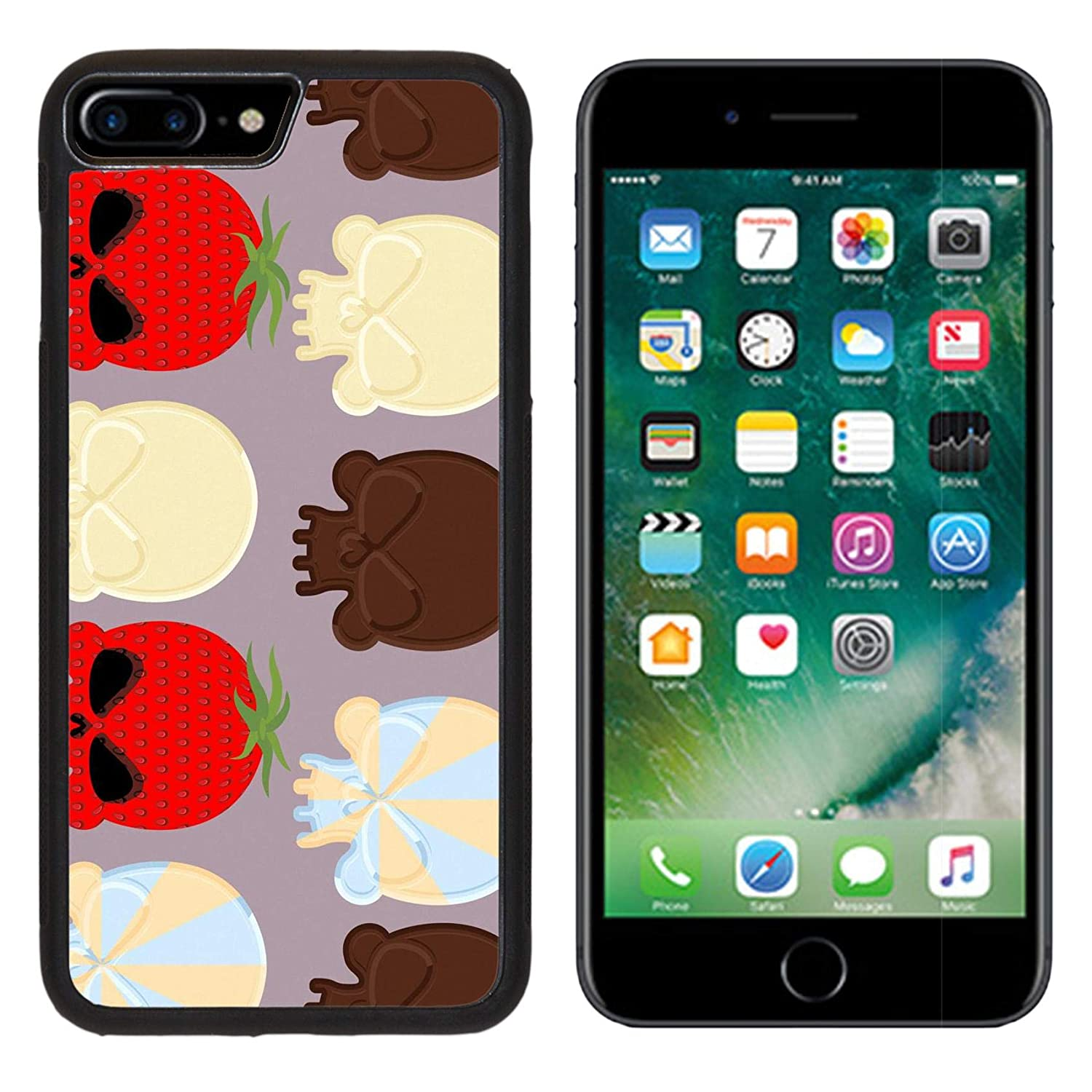 Luxlady Apple iPhone 8 Plus Case Aluminum Backplate Bumper Snap iphone8 Plus Cases ID: 43128818 Sweet Candy Skulls Seamless Pattern Head Skeleton Made of Chocolate and strawb