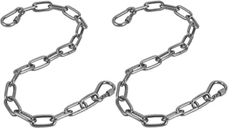 Amazon Com Jjdparts Chain Hanging Hammock Chair Chain Hanging Kits With Two Carabiners For Hammock Sandbag Hanging Chair Indoor Outdoor Two Chains 60cm 23 Silver Garden Outdoor