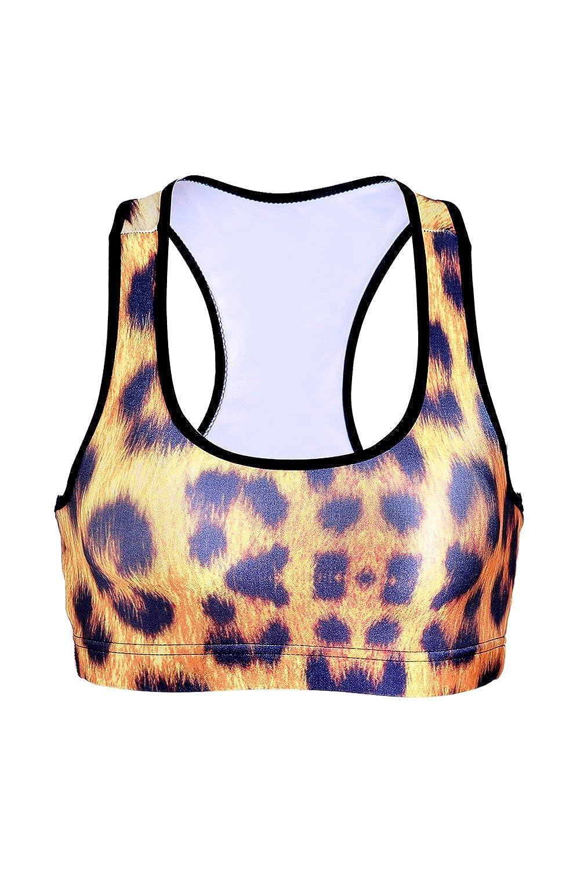 No llantas leopardo de mujeres impreso Racerback sujetador de los deportes Fitness: Amazon.es: Ropa y accesorios