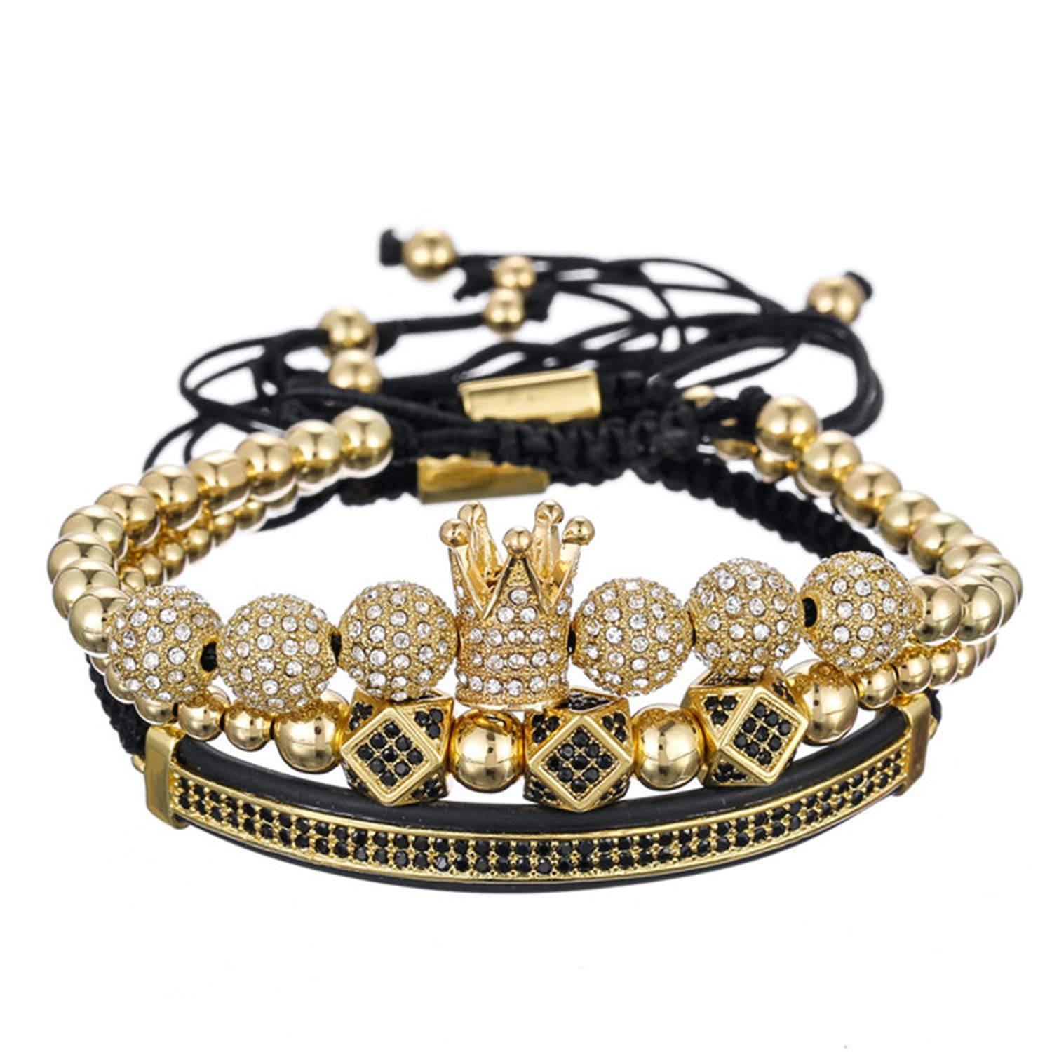 WASOLIE 3 Pcs Set Luxury CZ Crown Braided Copper Bracelets with Micro Pave Cubic Zirconia Beads Pulseira Bangle Charm Jewelry for Women Men
