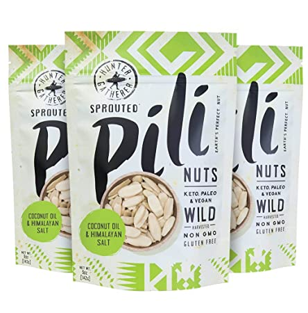 Pili Hunters The Original Wild Sprouted Pili Nuts Keto 3 Pack, With Himalayan Salt And Coconut Oil, Vegan, Low Carb Energy, No Sugar Added, Ketogenic Fat Superfood, (5 Oz Bag, Pack Of 3) by Pili Hunters