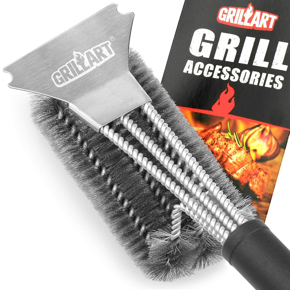 "GRILLART Grill Brush and Scraper Best BBQ Brush for Grill, Safe 18"" Stainless Steel Woven Wire 3 in 1 Bristles Grill Cleaning Brush for Weber Gas/Charcoal Grill, Gifts for Grill Wizard Grate Cleaner"