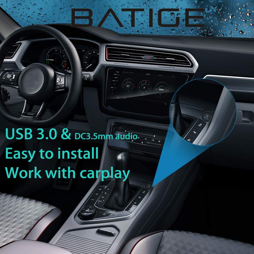 BATIGE USB 3.0 /& 3.5mm Car Mount Flush Cable 3.5mm 3ft USB3.0 AUX Extension Dash Panel Waterproof Mount Cable for Car Boat and Motorcycle