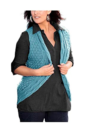 Your Life Your Fashion Flausch Strickweste türkis Gr: Amazon