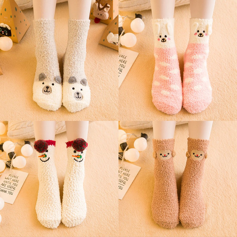 Girls Christmas Soft Warm Socks Coral Velvet Cartton Animals Stockings with Gift Boxes