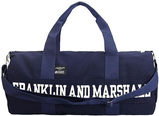 Franklin Marshall Jensen Lee Canvas Duffel Sports Bag Navy Blue   Amazon.co.uk  Clothing e02907b475f3b