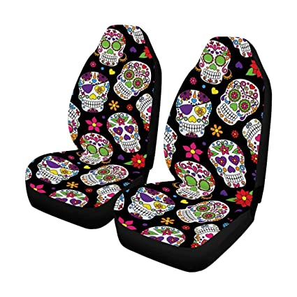 InterestPrint Sugar Skull Day Of The Dead Front Car Seat Covers Set 2 Universal