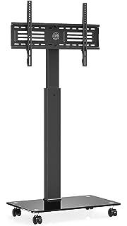 FITUEYES Soporte Móvil TV de 32 a 60 Pulgadas con Base de Vidrio Soporte de Suelo para Televisión de Pantalla LED LCD Plasma Plana Curva, Inclinable +8°/-12°, Altura Ajustable, MAX VESA 600x400: