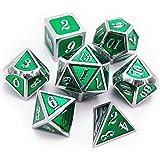 Haxtec 7PCS Metal Dice Set D&D Dice D20 D12 D10 D8 D6 D4 Dungeons Dragons DND RPG MTG Table Games-Glossy Enamel Dice